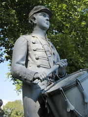 Zinc Union Army Drummer Boy Clarence Mackenzie 0998 (Brechtbug) Tags: pale blue zinc union army drummer boy statue clarence mackenzie 1848 1861 buried 1862 first brooklyn native die during civil war 12 year old for brooklyns thirteenth regiment killed by friendly fire while stationed annapolis maryland greenwood cemetery new york city 2018 nyc september 09162018