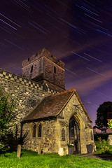 Wennington at Night (Alan Dell) Tags: startrails stars longexposure blending nightphotography night church stmarystpeter wennington landscape urban motion essex havering lighttrails lights evening stacking stacked blend blended photoshop photography architecture