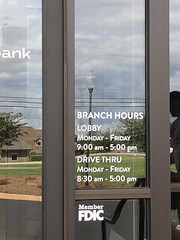 County Bank Office Hours (pipandersonsc1) Tags: signs signage vinyl window graphic pip anderson upstate local frostedglass outdoor bank office hours logo printing