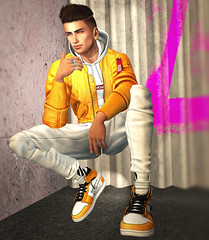 #83 Yellow and White! (maurorosenfeldsl) Tags: secondlife belleza jake catwa daniel guy buy boy dude virtual model leaning hair bento skin shape applier avatar mesh mandala ears body clothes poses building shop streets clefdepeau clef nature landscape virtualfashion virtualmen virtualman avi secondlifemen portrait valekoer dunks sweatpants joggers bomber hoodie