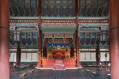 Geunjeongjeon (syf22) Tags: palace residence royal king sovereign stately castle dwelling manor mansion fort hold building korean classic buildings formal decorated design decoration intricate details interrelated complicate maze ceiling roof wall columns posts support earthasia