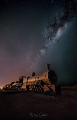 Night on the Galactic Railroad. (Uyuni-Bolivia) (Fractal77) Tags: colors uyuni bolivia milkyway sky nightscape vialactea train photography world night longeexposure