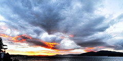 2018-09-22 Fall Equinox Sunset (2048x1024) (-jon) Tags: anacortes skagitcounty skagit washingtonstate washington salishsea fidalgoisland sanjuanislands pugetsound guemeschannel pnw pacificnorthwest sunset sky cloud composite stitched a266122photographyproduction fallequinox fall equinox