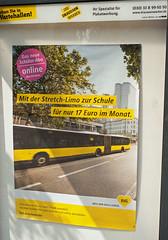Werbung BVG 18.8.2018 Wartehalle Bus (rieblinga) Tags: bvg wartehalle bus werbung 1882018 mit der stretch limo zur schule für nur 17€ im monat