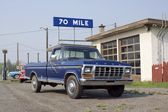 70 Mile (Curtis Gregory Perry) Tags: 70 mile ford truck sign blue 1977 1976 1975 1974 pickup old classic vehicle garage canada nikon d810 canadian