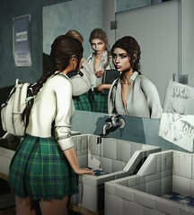 Your skin isn't paper, don't cut it. Your face isn't a mask, don't hide it. Your size isn't a book, don't judge it. Your life isn't a film, don't end it... (trendyandcoffee) Tags: secondlife sl slart photoshop bullying society girl cry mood alone lonely hate sadess bathroom college