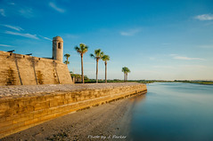 Castillo De San Marcos (J. Parker Natural Florida Photographer) Tags: nd64 neutraldensityfilter ndfilter longexposure morning sunrise dawn color colorful vsco vscofilm outdoor landscape staugustine saintaugustine matanzasriver castillodesanmarcos history historic florida historicflorida coquina fort fortification water palmtree palm seawall ocean northflorida