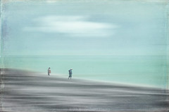 people on a beach (Dyrk.Wyst) Tags: 2017 bassenormandie cotentin france frankreich normandie reise stimmung beach beachwalk coast highkey landscape minimalism mood outdoors pastel people retro saltwater sea seascape travel photoshelter