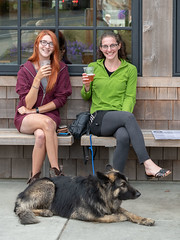 2 Girls, Beer, Dog (Ron Scubadiver's Wild Life) Tags: group portrait oregon dog tamron 100400 patio people outdoors sandals groupshot