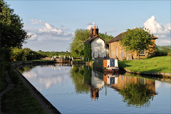 The Lock Keeper's Cottage (meniscuslens) Tags: grand union canal cheddington buckinghamshire lock cottage barge reflection sky clouds