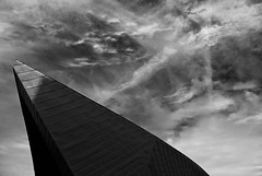 pointe (David Ian Ross) Tags: shark vapour intersection shadow sunlight facade aluminium copper visual arts sky rafael viñoly monochrome cloud architecture firstsite gallery hard edges light shade exterior curve tone contemporary urban suspended floating foundation town lines tip