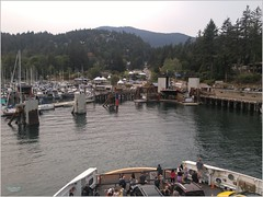 Bowen Island Snug Cove BC18h23 LG (CanadaGood) Tags: canada bc britishcolumbia bowenisland bcferries ferry sea howesound people person shore dock harbour tree canadagood 2018 thisdecade color colour cameraphone boat marina