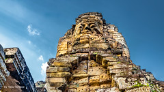 Details of a Face on a Tower at Bayon Temple, Angkor, Cambodia-17a