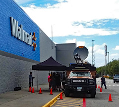 Duracell Station At Wal-Mart. (dccradio) Tags: lumberton nc northcarolina robesoncounty outdoor outdoors outside walmart store retail bigboxstore duracell powerforward hurricaneflorence florence september earlyfall earlyautumn latesummer monday mondayafternoon wifi powerstation free batteries duracellbatteries batterystation walmartsign words text transportation vehicle ready relief restore truck duracelltruck dish satellite satellitedish wifidish cones pylons curb samsung galaxy smj727v j7v cellphone cellphonepicture