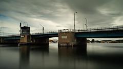 Gråsten Brücke (davidhorrmann) Tags: langzeitbelichtung mehrfachbelichtung brücke wasser wolken stille spiegelungen olympusem5 polfilter zuiko