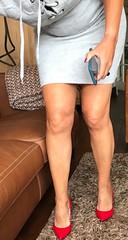 MyLeggyLady (MyLeggyLady) Tags: hotwife milf sexy secretary teasing minidress cleavage thighs cfm pumps stiletto red legs heels