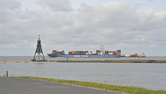 The faster great one passes the little slower one on ... (Manfred_H.) Tags: vehicles fahrzeuge schiffe ships containerschiff containercarrier elbe river schifffahrtsstrase shipway cuxhaven döse hamburg