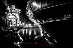 Port Night (blende9komma6) Tags: nikon d7100 night nacht ship lights portugal leixos container vessel bw sw water schiff hafen harbour marina