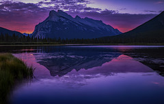 Mt Rundle morning (Robert R Grove 2) Tags: sinrise morning dawn colors clouds reflections nature lake banff rundle robertrgrove red sky