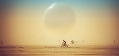 The ORB in a Dust Storm (Mike Filippoff) Tags: burningman burningman2018 playa nevada desert dust storm theorb sphere large planet surreal bicycle participant