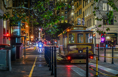 number 57 at the drumm street reverse (pbo31) Tags: bayarea california nikon d810 color september 2018 city urban boury pbo31 summer sanfrancisco night dark black financialdistrict lightstream motion traffic roadway californiastreet cablecar 57 reflection infinity