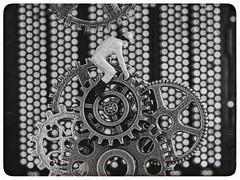 Modern Times (Silke Klimesch) Tags: macromonday cogwheel gear zahnräder zahnrad moderntimes 1936 charliechaplin charliechaplinsrideonthecogs circuitboard mainboard steampunk computer clockwork contraption blackandwhite monochrome vintage film movie frame filmposter thatframeagain olympus omd em5markii mzuikodigitaled60mm128macro microfourthirds luminar on1photoraw2018 nik analogefex border rahmen piñón pignon rouedentée ruotadentata engrenagem roatădințată pinion zupčanik γρανάζι dişli зубчатоеколесо tinypeople priser faller noch h0