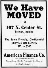 1961 - American Finance moves from 124 E Plymouth to 107 N Center - Enquirer - 3 Aug 1961