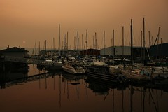 Marina Haze (Mason E. Emley) Tags: washington washingtonstate sunset fire haze smoke sail sailboat marina water pugetsound puget sky orange