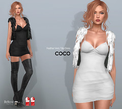 COCO New Release @Uber August 25th (cocoro Lemon) Tags: coco newrelease uber slip dress feather vest secondlife fashion mesh slink maitreya belleza