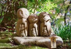 Happy Buddhist Monks (Sapporo Shaun) Tags: statue green asia japan kamakura cute happy smile