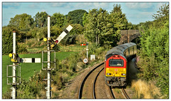 The Cheshire Skip (david.hayes77) Tags: skip 1d31 class67 67010 db atw arrivatrainswales helsby helsbyjunction cheshire 2018 semaphores signals