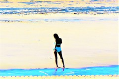 Shoreline (thomasgorman1) Tags: beach shore sand woman nikon colorized effects baja mx mexico outdoors shoreline coast sea ocean bikini silhouette resort