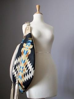 Tribal Leather Bag, Leather backpack, Crossbody bag, Slouchy Leather Bag, Shoulder bag, Leather tassels, Oregon Wool, Wool bag, Hobo bag