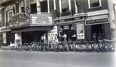 Cinema Promotions, 1930s (jericl cat) Tags: theatre vintage 1930s photo historic movie cinema promotion marketing advertising ads northcarolina marquee bulb neon national biscuiteater colored entrance segregated mezzanine mush fein jewelers bicycle rack bicycles