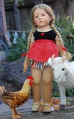 Katja on the Farm (Emily1957) Tags: dolls doll toys toy kathekruse steiff babygoat chicken clothdoll braids plaits pigtails organza fabricdoll red