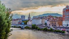 Sunrise in Grenoble (Ibrahim Seyam) Tags: sunrise sky landscape grenoble france alps river isere bridge pont