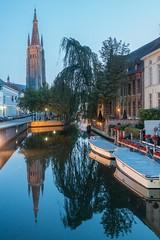 Bruges, Belgium-01715 (gsegelken) Tags: belgium bruges vantagetravel boat canal night reflection