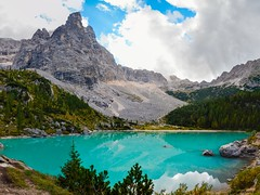 Lago di Sorapis the turquoise colored lake (peter-goettlich) Tags: clouds wolken italien dolomiten alps lake turquoise