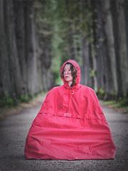 Rain II (Elenovela) Tags: regen rain raincape regencape polkadots girl woman porträt portrait wald woods baum tree allee dof cape rainyday regentag panasonicgh5 olympus75mmf18 elenovela karstenmüller redridinghood rotkäppchen