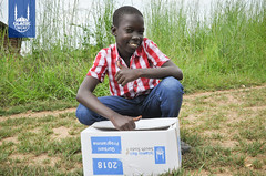 A young boy receives Qurbani meat distribution in South Sudan