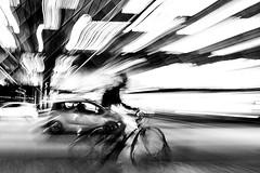 Life Won't Wait (Birdhouse camper) Tags: copenhagen denmark blur fujifilm fuji xt2 fujixt2 zoom pan blackandwhite blackwhite bicycle street