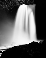 Moul Falls Long Exposure (steveboer.com) Tags: moulfalls waterfall water falls longexposure nature monochrome outdoors blackandwhite light landscape noperson white river blur black art rock monochromephotography photography h2o atmosphere dark travel daytime mono stockphotography photograph contrast waterfeature bc britishcolumbia wellsgray provincial park