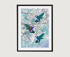 Personalised Gifts Ideas : Humming Birds Turquoise Wildlife Wall Art – Sweet Wild Designs (mygiftslist) Tags: gifts