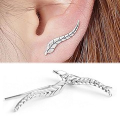 Birthday Gifts for Girls : Pair Simple Leaf Climber Stud Earrings Feather Boho Bohemian Jewelry Silver Tone… (mygiftslist) Tags: gifts