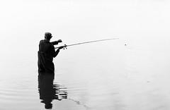 Gone fishing (Antti Tassberg) Tags: silhouette negativespace laaksolahti pitkäjärvi bw syksy järvi kalastaja suomi espoo autumn blackandwhite fall finland fisher fisherman lake monochrome scandinavia uusimaa fi