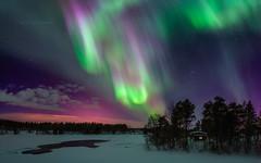 Auroras above River Iijoki (M.T.L Photography) Tags: auroraborealis sky river ice snow winter iijoki cabin light stars mikkoleinonencom mtlphotography panoramicphotography auroraphotography nikond810 window polarsken norrsken