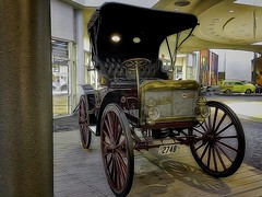 Really Old Car IMG_2278 (ForestPath) Tags: car old 1911 ohio cincinnatiairport murals display topazglow topazlenseffects