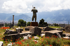 Flashback to an earlier spring this year (David Redfearn) Tags: pompeii italy statue romanruins rovineromane poppies