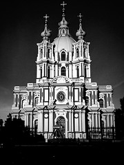 Smolny Sobor | St. Petersburg (maryduniants) Tags: petrohrad leningrad cross architecture bell white blackandwhite black stpetersburg russia smolny orthodox sobor church cathedral holy