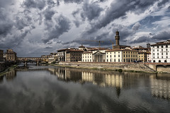 Before the Storm (Tracey Whitefoot) Tags: tracey whitefoot 2018 summer florence italy toscana tuscany firenze ponte vecchio river arno storm clouds cloud city cityscape reflections reflection europe european